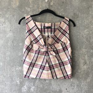 💕3 for $20 ZARA Plaid Knot-Front Crop Top Size S